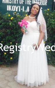 Bride looks elegant