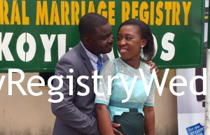 Naomi and Idowu take their Marriage Vows on the 10th of March 2016 at Ikoyi Registry.