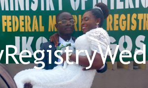 Gift vowed to love Oluwatobiloba forever on the 19th of May 2016 at Ikoyi Registry