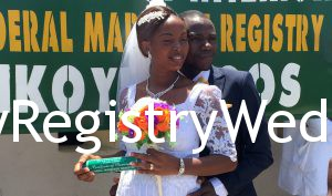 Abosede and Ayomide seal their commitment on the 29th of April 2016 at Ikoyi Registry.