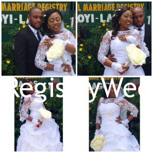 Abimbola all loved up with her hubby , look at her bouquet, whoa! So lovely. She really likes to pose, anyway it's her day and she is having all the fun!