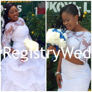 Abimbola and peace looks gorgeous in their beautiful wedding Dress, while Abimbola poses like a model , peace admired her bouquet. Indeed every bride likes a lovely Bouquet. It is their Day and they both indeed got dressed for it!