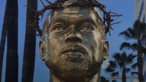 Kanye West life size statue at Hollywood Boulevard