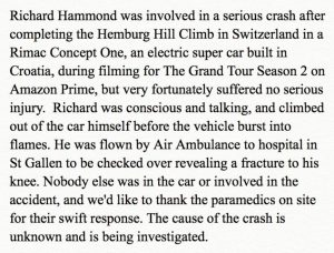 Grand Tour statement about Richard Hammond Car crash And knee fracture