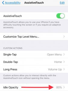 How to use idle opacity on iPhone